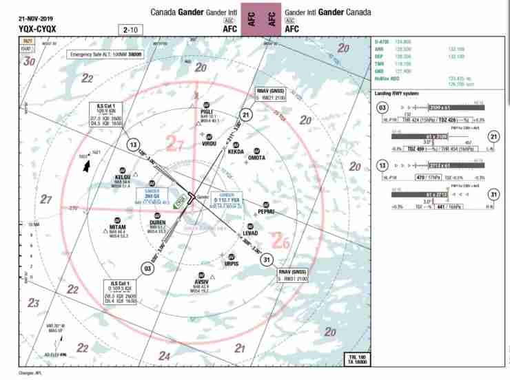 Gander has 4 runways, all over 2500m and with good approach aids. (Image by Charlie Page/The Points Guy)