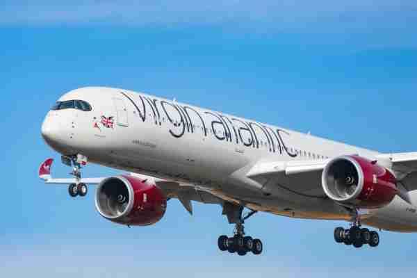 A Virgin Atlantic A350 on approach (Photo by Nicolas Economou/NurPhoto via Getty Images)