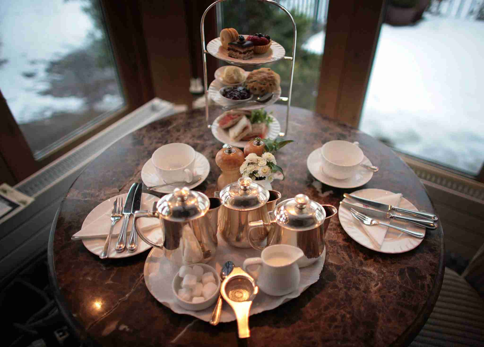 HARROGATE, ENGLAND - FEBRUARY 12: Afternoon tea for two at Bettys Tea Room, Harlow Carr on February 12, 2009 in Harrogate, England. The family owned company Taylors of Harrogate have been producing it