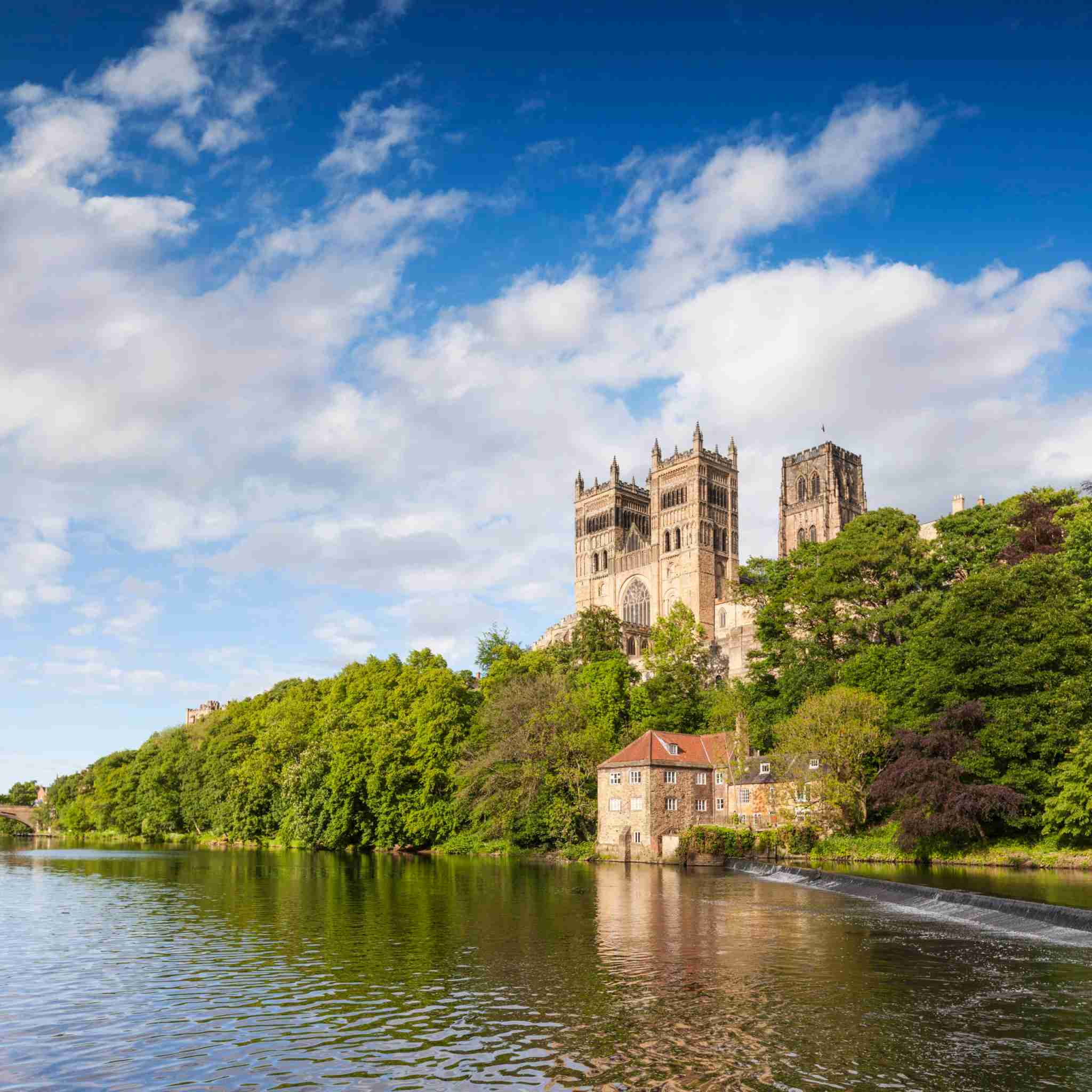 Durham Cathedral, on its rocky outcrop above the River Wear, in County Durham, England.