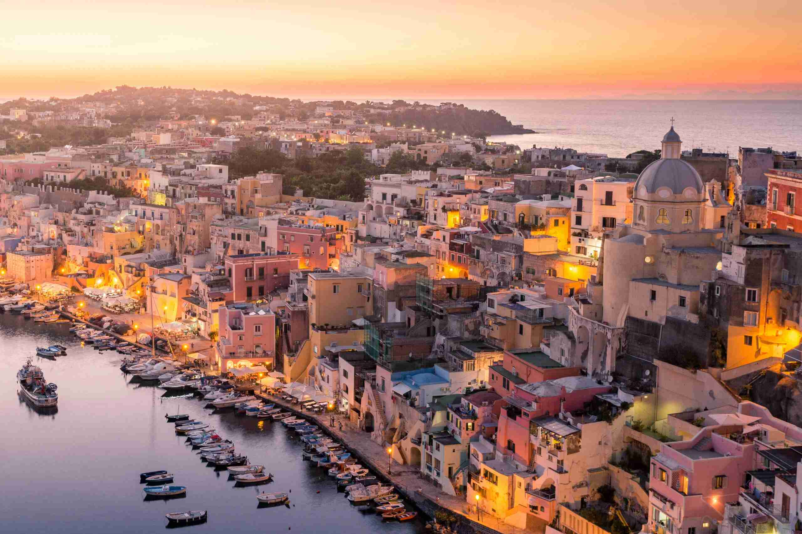 Sunset over La Corricella Harbour. (Photo by
