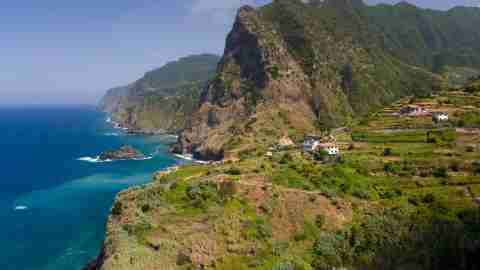 village of boaventura and the arco de sao jorge mountain range on the north coast of the portuguese t20 WK61QK scaled