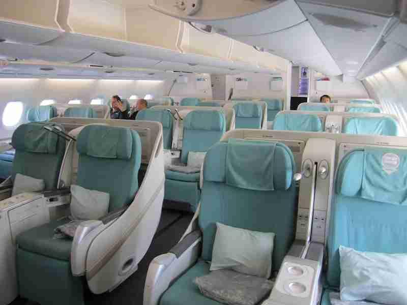 The business class cabin aboard Korean Air