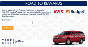 Enter to win 100 Free TrueBlue points instantly with JetBlue.