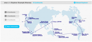 Oneworld RTW tickets can take you between 3-6 continents.