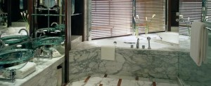 Marble bathroom at the Grand Hyatt Shanghai.