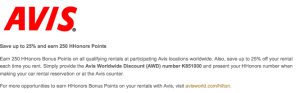 Earn bonus miles through car rental partners like Avis.
