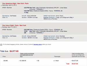 The same itinerary would cost just about $4,100.