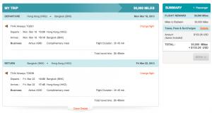 Thai Airways Hong Kong to Bangkok in Business