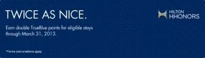 Earn double TrueBlue points with Hilton.
