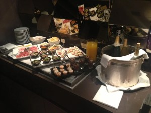 Canapes in the club lounge.
