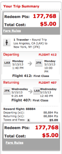 Virgin LAX JFK First 178k