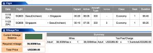 Singapore Airlines Seoul-Singapore Economy Award