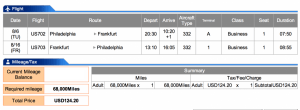 US Airways Business Philadelphia to Frankfurt