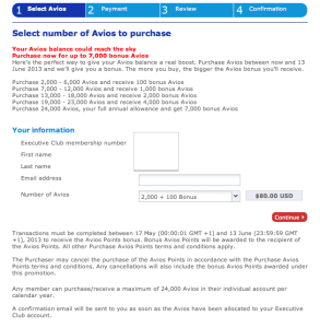 From now until June 13, the bonuses are coded into the Avios purchase page on britishairways.com.
