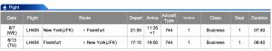 Lufthansa JFK-FRA Business Class Aug 7- Aug 13