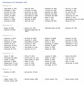 Reduced mileage award destinations for November.