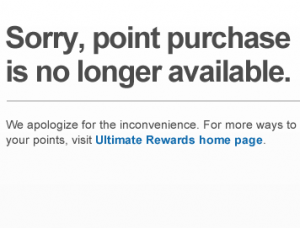 Chase already pulled the ability to buy points online, and in November, you won