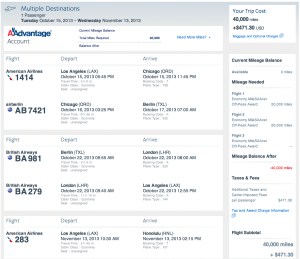 American award from LAX-TXL with add-on to HNL.
