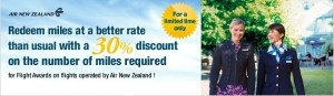 Air New Zealand is offering a 30% discount on award flights.