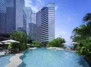 Relax in the pool at the Grand Hyatt Hong Kong.