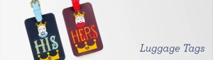 His and Hers luggage tags from Jonathan Adler.