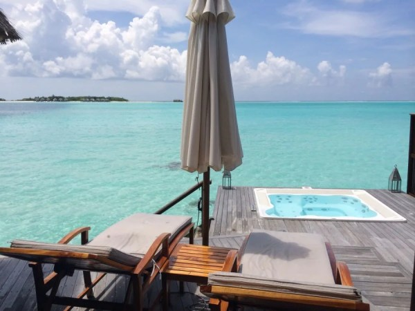I used my two free weekend nights to stay at the Conrad Maldives and then paid to upgrade to the overwater bungalow