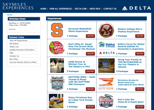 You can put your SkyMiles to use through Delta's online auction site.