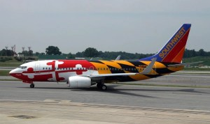 "Southwest's ""Maryland One"", a Boeing 737 with the Maryland state flag painted onto it, celebrating their stronghold of BWI"
