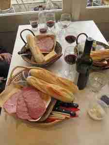 Cheese, charcuterie, bread and wine at Hahndorf