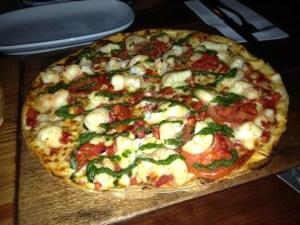 Hugo's prawn pizza.
