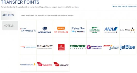 You can transfer Amex Membership Rewards points to 17 airlines and 4 hotels.