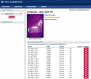 US Airways' show tickets pricing and mileage earnings