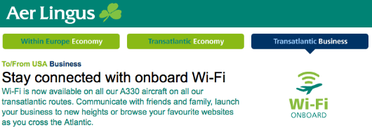 Aer Lingus is the only carrier to offer free Wi-Fi to business-class passengers, a model I wish others would follow!