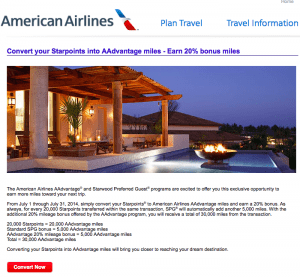 New SPG to AA transfer bonus