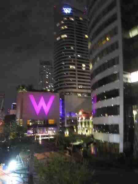 The W Bangkok glowing at night