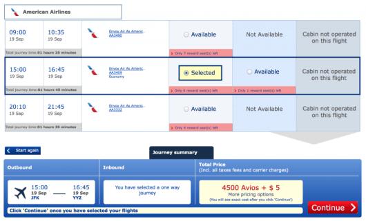 Using British Airways Avios for New York-Toronto is still only 4,500 avios each eay.
