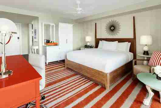 A guest room at the new and stylish Hilton Cabana