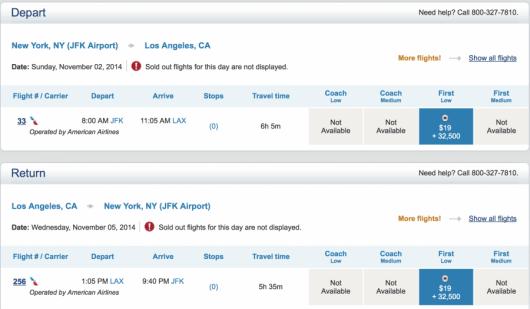 Redeem 65,000 US Airways miles for American