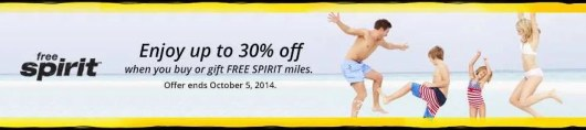 Get up to 30% off when purchasing Spirit miles