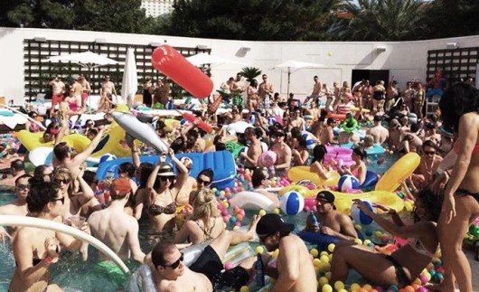 The playful, inflatable mayhem at Aria's Liquid pool lounge