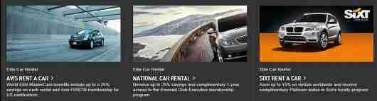 Rental car status with Avis and National is sweet benefit of World Elite MasterCards.