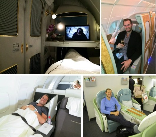 Some of my journeys in first class (clockwise from top left): Emirates, both lying down and seated; Korean Air; and Lufthansa