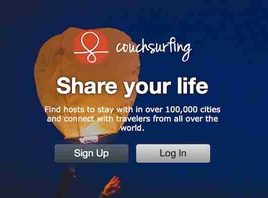 The original sharing economy app: Couchsurfing.