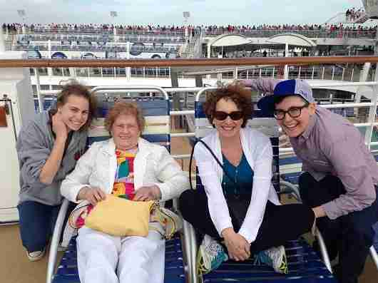 My grandma Anne taking a cruise earlier this year with my aunt and my  cousins.