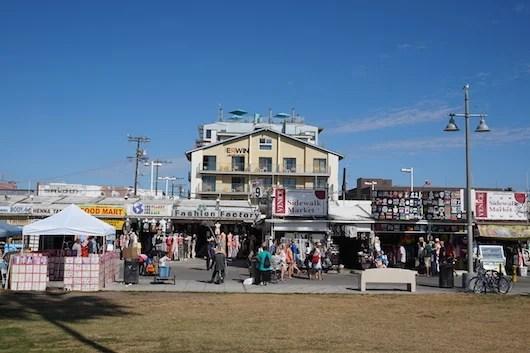 Kiosks along the Ocean Front Walk. Photo by Shayne Benowitz.