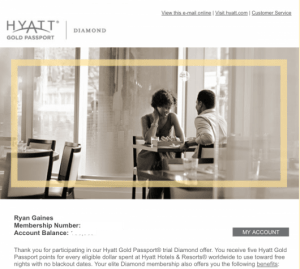 You must stay 12 nights within 60 days to complete the Hyatt Diamond Challenge.