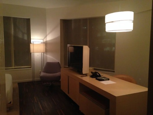 """The desk also included a second 42"""" LCD TV and housed the minibar and in-room safe."""