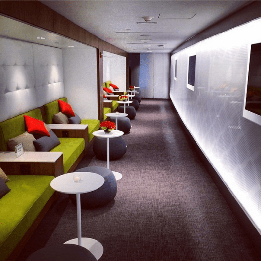 Comfortable seating nooks at the Centurion Lounge LaGuardia