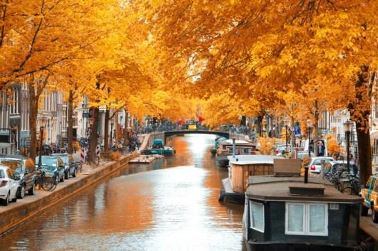 Europe in fall autumn Amsterdam